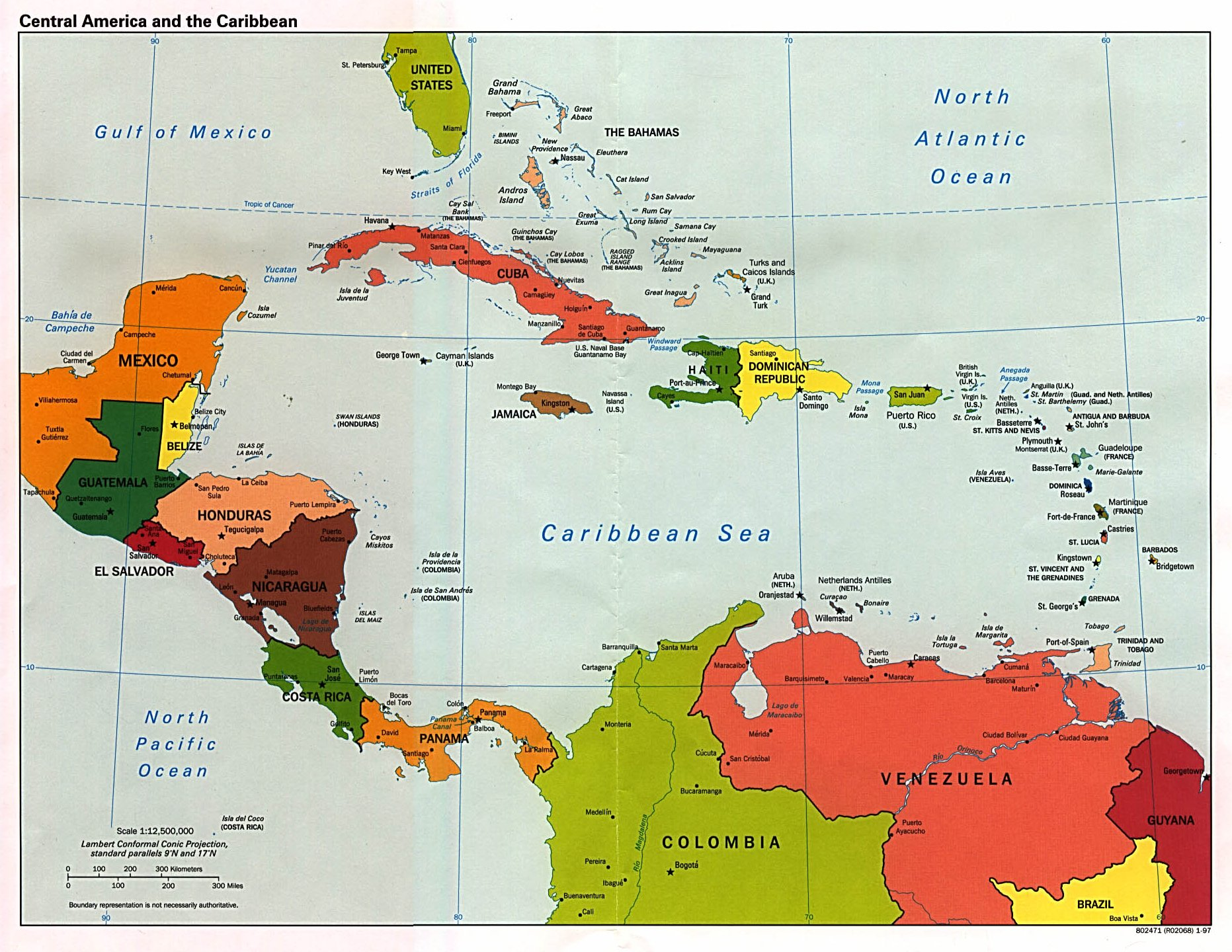 Map of C. America and the Caribbean